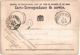 Carte-Correspondance De Service - Ministère Des Travaux-Publics - Anvers 1885 - Documenti Storici
