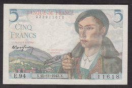 5 Francs Berger - Fay: 5/4 Du 25-11-1943 En Neuf - Voir Descriptif - 1871-1952 Circulated During XXth