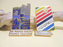 Pin's France Télécom - Les Réseaux Cablés Et Visiopass - France Telecom