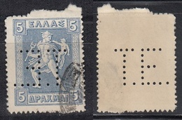 "GRIECHENLAND 1913 -  MiNr: 205 Perfin ""T.E."" Used - Griechenland"