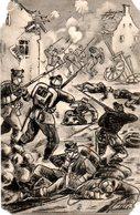 """Orig. Feldpost-Karte 1.WK """"Zeichnung: Gefechtsszene"""" FELDPOSTEXPEDITION DER 1.(K.S.) INF.DIV.Nr.25 13.1.16 - Weltkrieg 1914-18"""