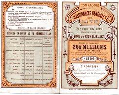 Calendrier . 1884 - Compagnie Générales Sur La Vie - - Calendriers
