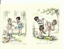 """2 CPA Germaine BOURET Illustrateur , """" Donnez Moi La Main Mamzelle """" Et """" Les Femmes ça S'accroche Partout """" Enfants - Bouret, Germaine"""