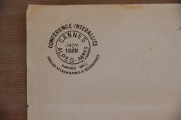 Lettre Vierge à En-tête Conférence Interalliée De Cannes De Janvier 1922 - Documenti Storici