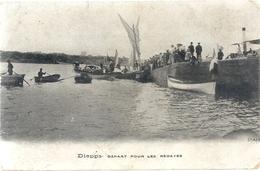 """DIEPPE - DEPART POUR LES REGATES + PUB """" A LA FERMIERE """" 5&7 Fbg  St-ANTOINE - PARIS - AU VERSO  - 2 SCANES - Dieppe"""