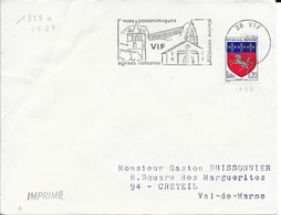 Isere 38   -  VIf    - FLAMME N° 1858a  -  1967   - VUE PANORAMIQUE / VIF / EGLISE ROMANE / PISCINE CAMPING - Postmark Collection (Covers)