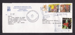 Venezuela: Cover To Netherlands, 4 Stamps, 1994, Orchid Flower, Pope Paul, Holy Mother Maria, Rare Use (roughly Opened) - Venezuela