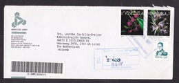 Venezuela: Registered Cover To Netherlands, 3 Stamps, 1997, Orchid Flower, Rare Real Use, Sent By Bank (traces Of Use) - Venezuela