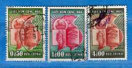 (1Us) VIETNAM Du SUD °-1957- Assemblée Nationale . Yvert. 75-77-78. Oblitéré.  Vedi Descrizione. - Vietnam
