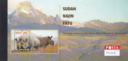"""2018 Kenya NEW ISSUE Northern White Rhino Limited Edition """"UNEXPLODED"""" Booklet MNH Lion - Kenya (1963-...)"""