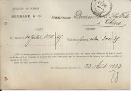 SAINT CHAMOND NEYRAND FORGES D ONZION A MR DOURIS A THIERS ANNEE 1883 CARTE COMMERCIALE DEBIT CREDIT CACHET POSTE - Non Classificati