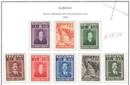 Albania PO 1938 Queen Geraldine And.Nat.Embl. .Scott.290/297 +See Scan On Scott.Page - Albania