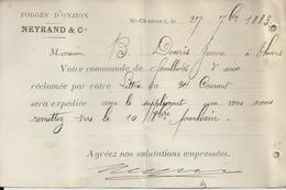 SAINT CHAMOND NEYRAND FORGES D ONZION A MR DOURIS A THIERS ANNEE 1883 CARTE COMMERCIALE  CACHET POSTE - Non Classificati
