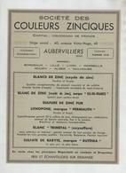 Publicité 1949 Société Des Couleurs Zinciques Aubervilliers Zinc Blanc Sulfure Lithopone - Werbung