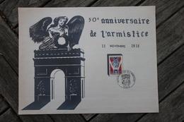 Souvenir Philatélique 50è Anniversaire De L'armistice Oblitération 1er Jour Paris 1968 - 1960-1969