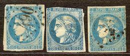 BON LOT 3 BORDEAUX N°46 B 20c Bleu Oblitéré Losange GC Cote 150 Euro Minimum - 1870 Emission De Bordeaux