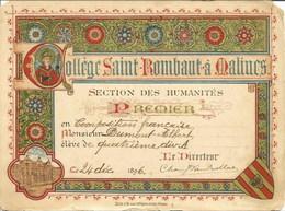 MALINES-MECHELEN - Collège St-Rombaut - Carte D'Honneur De 1896 - Mechelen