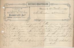 THIERS MAUBERT MEMORANDUM ANCIENNE MAISON GIRODIAS CHABROL MANUFACTURE DE COUTELLERIE ANNEE 1909 - Non Classificati