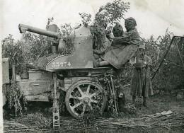 France WWI Artilleurs Anti Aériens Avec Cagoules Batterie De 75 Ancienne Photo 1917 - War, Military