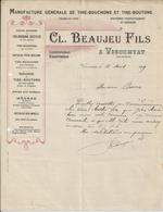 VISCOMTAT BEAUJEU MANUFACTURE DE TIRE BOUCHONS ET TIRE BOUTONS MECHES EN MAILLE ANNEE 1909 - Non Classificati