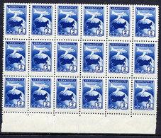 SOVIET UNION 1955 Airmail 2 R. Blue  Block Of 18 MNH / **.  Michel 1762 - 1923-1991 USSR