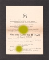 WEGNEZ  Pepinster  1948 Mme ALPHONSE ISTACE Née EUGENIE GATHON - Avvisi Di Necrologio