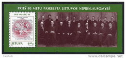 LITHUANIA  1998 Independence Declaration Of 1918 Block MNH / **  Michel Block 12 - Lithuania