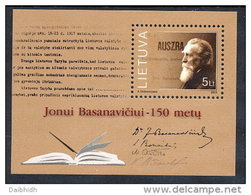 LITHUANIA 2001 Basanavicius Anniversary Block MNH / **.  Michel Block 24 - Lithuania