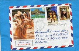 MARCOPHILIE-lettre -POLYNESIE->Françe Cad-centre Tri Avion 1991- Bel Afft 3 Stamps - Lettres & Documents