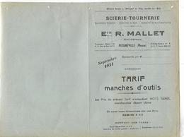 Tarifs 1954 / MEUSE / MOGNEVILLE / SCIERIE-TOURNERIE / R. MALLET / Spécialités Manches De Fourches En Frêne - Francia
