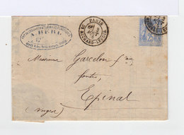 Sur Lettre Type Sage 25 C. Outremer. Oblitération Paris. (544) - Marcophilie (Lettres)
