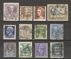Monde - PERFINS - Petit Lot De 12° - Danemark - Autriche - Australie - USA - Grèce - Pays-Bas - Suisse - Tchécoslovaquie - Vrac (max 999 Timbres)