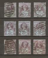 Grande-Bretagne - Victoria 2 1/2d - PERFINS - PERFORES - Petit Lot De 9 Perfins Différents Sur YT95 - Vrac (max 999 Timbres)