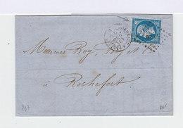 Sur Lettre Type Napoléon III Empire Franc. 20 C. Type I. Variété Tache Blanche. (586) - Marcophilie (Lettres)