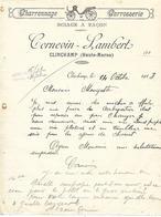 Facture 1913 / Haute Marne / CLINCHAMP / CORNEVIN-LAMBERT / Sciage à Façon / Charronnage - Francia
