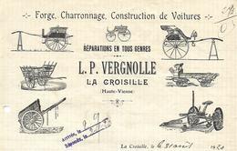 Facture 1920 / Haute Vienne / LA CROISILLE / L.P VERGNOLLE / Charronnage / Constructions Voitures - Francia