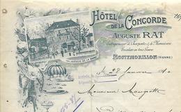 Facture Lettre 1910 / Vienne / MONTMORILLON / A. RAT / Hôtel De La Concorde - Francia