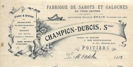 Facture Lettre 1912 / Vienne / POITIERS / CHAMPION-DUBOIS / Fabrique De Sabots Et Galoches - Francia
