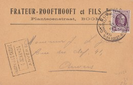 CP Entête T.195 Obl BOOM Tentoonstelling - Exposition 9-24 Oogst - Aout 1924 3 VI 1924 V. Anvers (rare) - 1922-1927 Houyoux