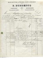 Facture Lettre 1869 / Vienne / POITIERS / D. DUBROEUCQ / Manufacture De Toiles, Sacs, Bâches / 33 BORDEAUX - Francia