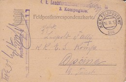 Feldpostkarte K.k. Landsturminfanteriebataillon Nr. 40 - FP 304 - Nach Opcina - 1917  (35670) - Briefe U. Dokumente