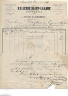 Facture 1869 / Vienne / POITIERS / Huilerie SAINT LAZARE / GRILLIET & SENECHAULT / Huile De Noix / Timbre Au Dos - Francia