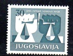 YUG87B - YUGOSLAVIA 1958,  Serie Unificato N. 771  ***  Diritti - Nuovi