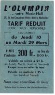 Ancien Billet/Ticket/Tarif Réduit. Music Hall, L'Olympia à Paris. - Biglietti D'ingresso