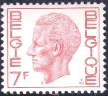 198 Belgium King Roi Baudoin Beaudoin 7f MNH ** Neuf SC (BEL-247b) - Royalties, Royals