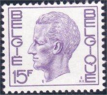 198 Belgium King Roi Baudoin Beaudoin 15f MNH ** Neuf SC (BEL-261b) - Royalties, Royals