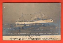 Sestri Ponente  Cannoniera Bravo 1904 Varo Cantiere Odero Nave  Navi Navires Schiffe - Barche