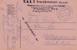 Feldpostkarte K.u.k. 5. Armeekommando QuAB Mannschaftsrekonvaleszenzstation FP 339 - 1916 (35676) - Briefe U. Dokumente