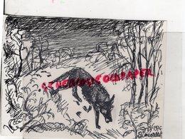 87 - RANCON BELLAC BLANZAC - AIME VALLAT 1976- BEAU DESSIN ORIGINAL CRAYON ET ENCRE NOIRE - LE LOUP - Drawings