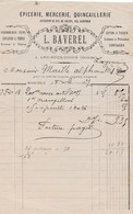 Petite Facture 1897 / L. BAVEREL / Epicerie Mercerie / 25 Arc Sous Cicon / Doubs - Francia